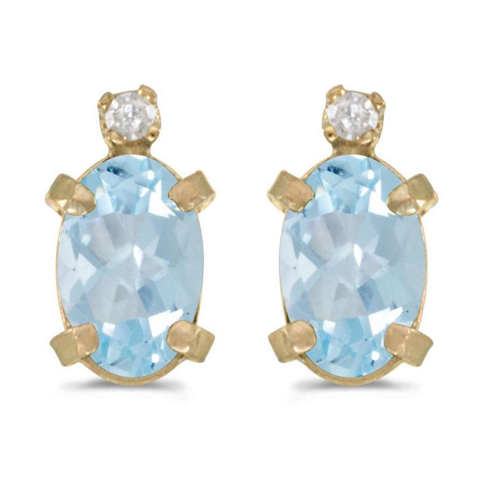 Certified 14k Yellow Gold Oval Aquamarine And Diamond Earrings 0.6 CTW #PAPPS27016