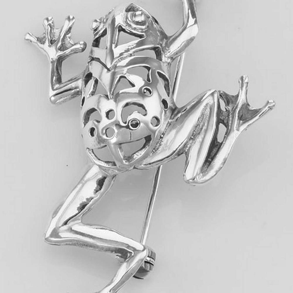 Frog Pin - Tree Frog Brooch - Sterling Silver #PAPPS97740