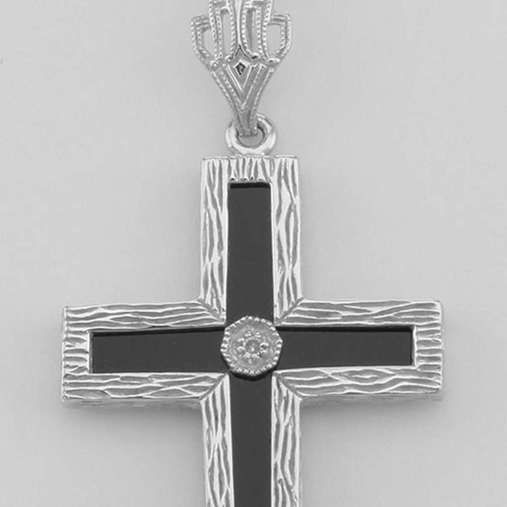 Beautiful Black Onyx Cross with Diamond Accent Center - Sterling Silver #PAPPS98072