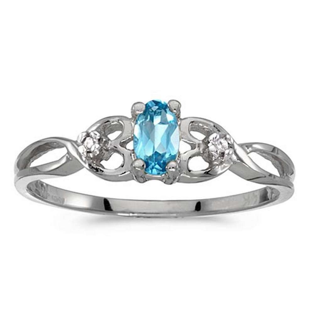 Certified 10k White Gold Oval Blue Topaz And Diamond Ring 0.21 CTW #PAPPS51476