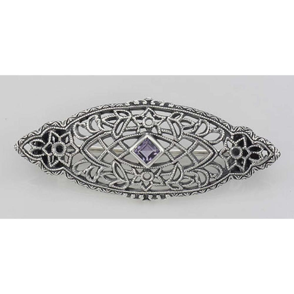 Antique Victorian Style Amethyst Pin / Brooch - Sterling Silver #PAPPS98081