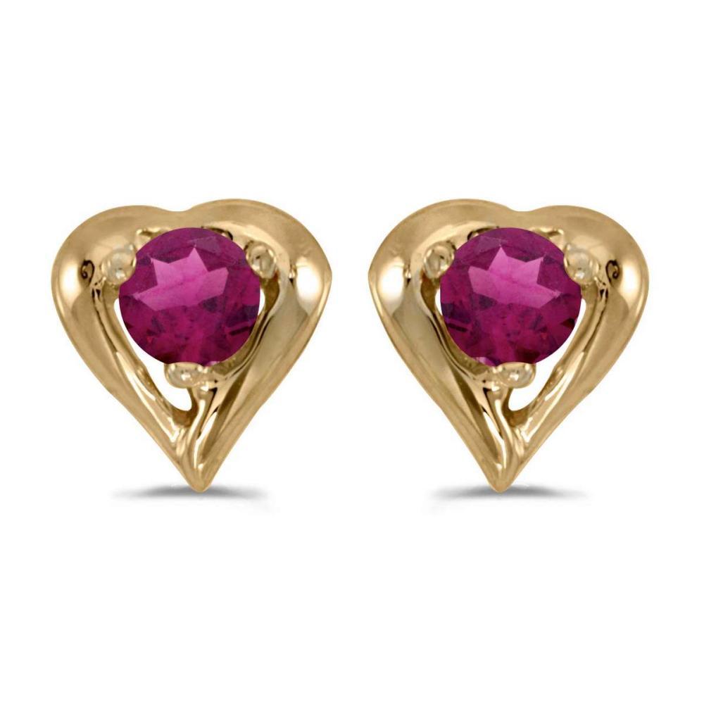 Certified 14k Yellow Gold Round Rhodolite Garnet Heart Earrings 0.24 CTW #PAPPS26955