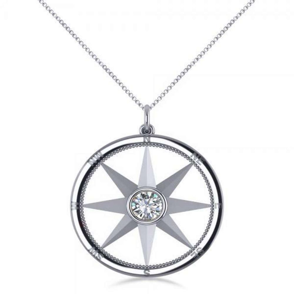 Diamond Nautical Compass Pendant Necklace 14k White Gold (0.66ct) #PAPPS21259
