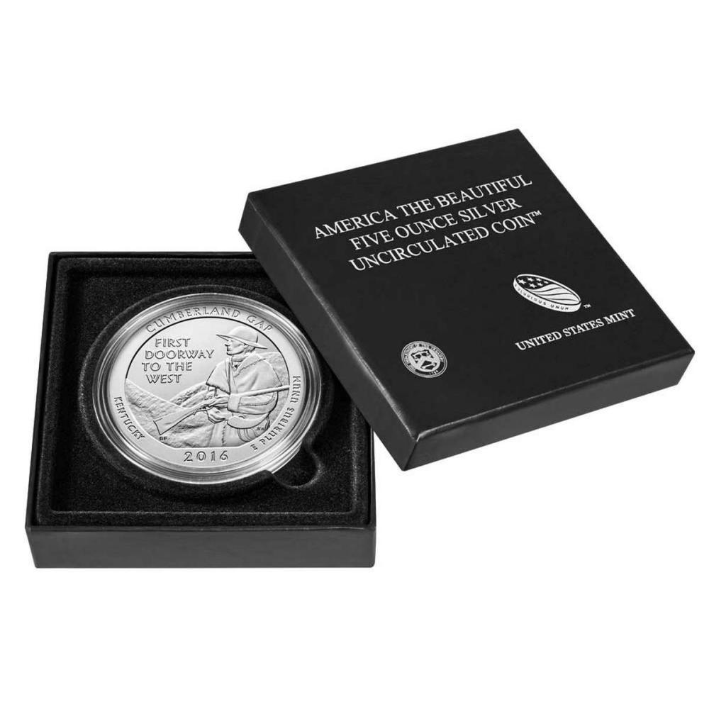2016-P 5 oz Silver ATB Cumberland Gap National Park (w Box and COA) #PAPPS57992