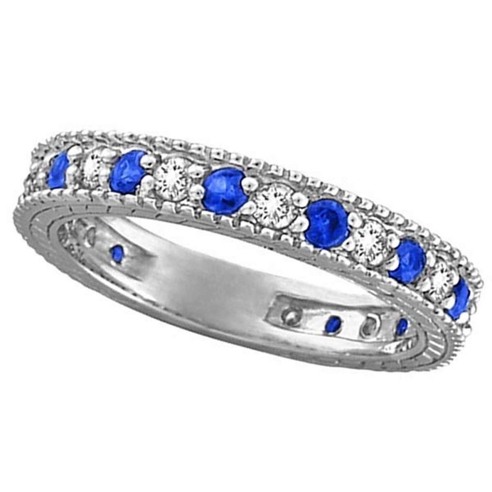 Diamond and Blue Sapphire Anniversary Ring Band in 14k White Gold (1.08 ctw) #PAPPS20532