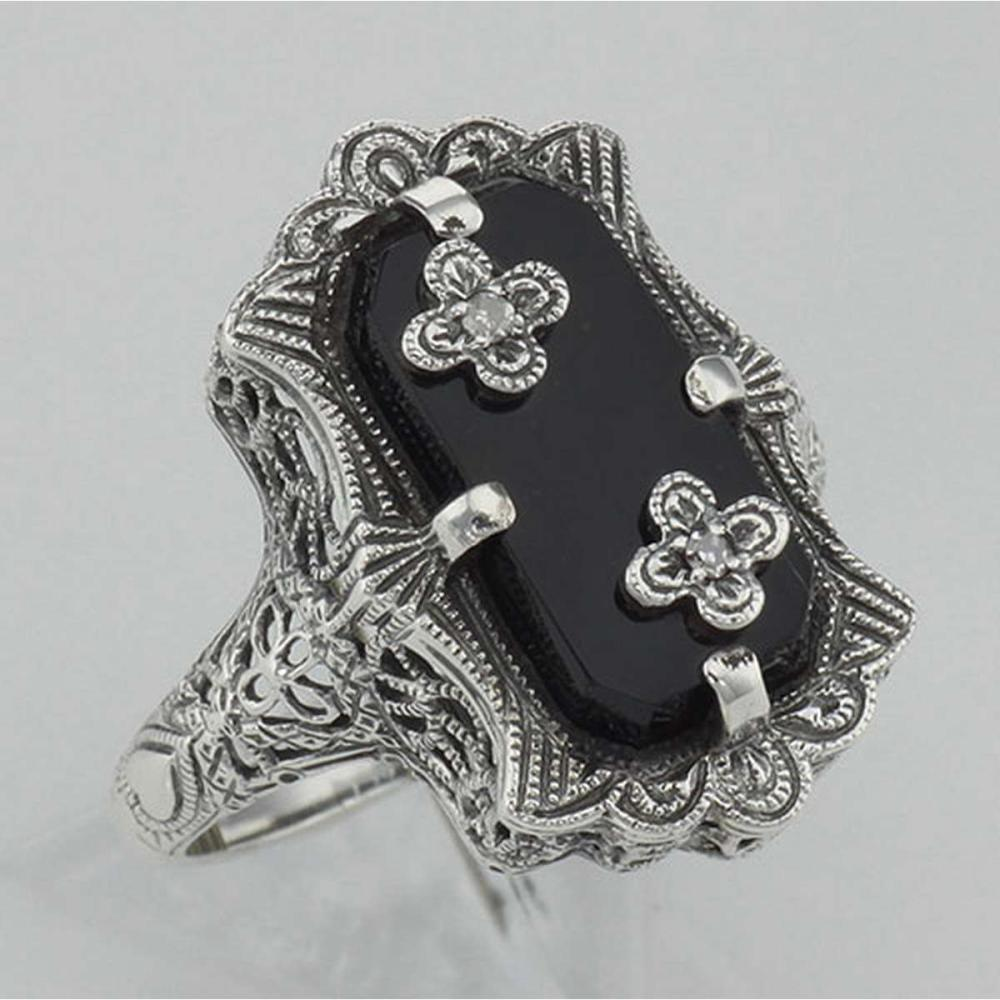 Victorian Style Black Onyx Ring with Diamond Flowers - Sterling Silver #PAPPS98145