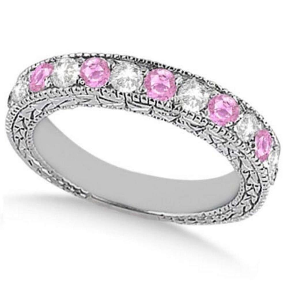 Antique Pink Sapphire and Diamond Wedding Ring 14kt White Gold (1.05ct) #PAPPS21263
