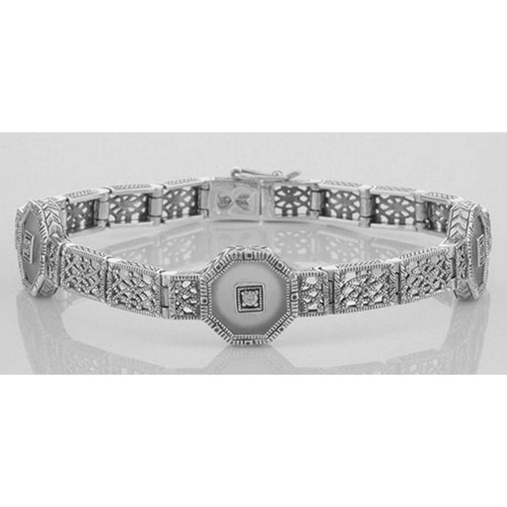 Art Deco Style Camphor Glass Crystal / CZ Filigree Bracelet - Sterling Silver #PAPPS98033