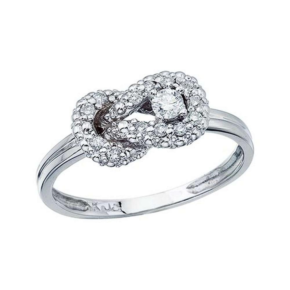 Certified 14K White Gold Fashion Knot Diamond Ring 0.21 CTW #PAPPS51080