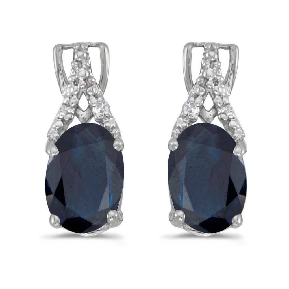 Certified 14k White Gold Oval Sapphire And Diamond Earrings 1.62 CTW #PAPPS27222