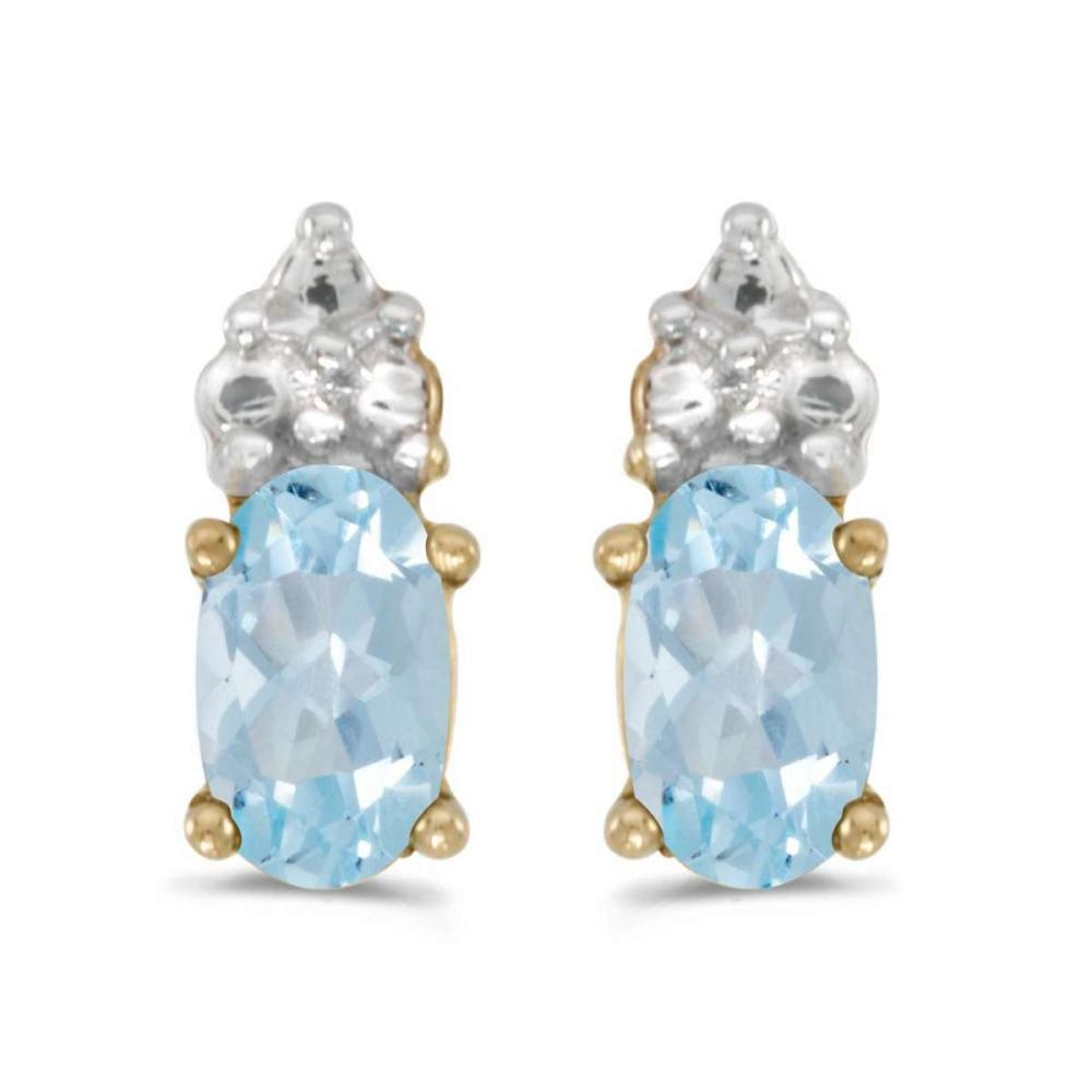 Certified 14k Yellow Gold Oval Aquamarine Earrings 0.28 CTW #PAPPS26978