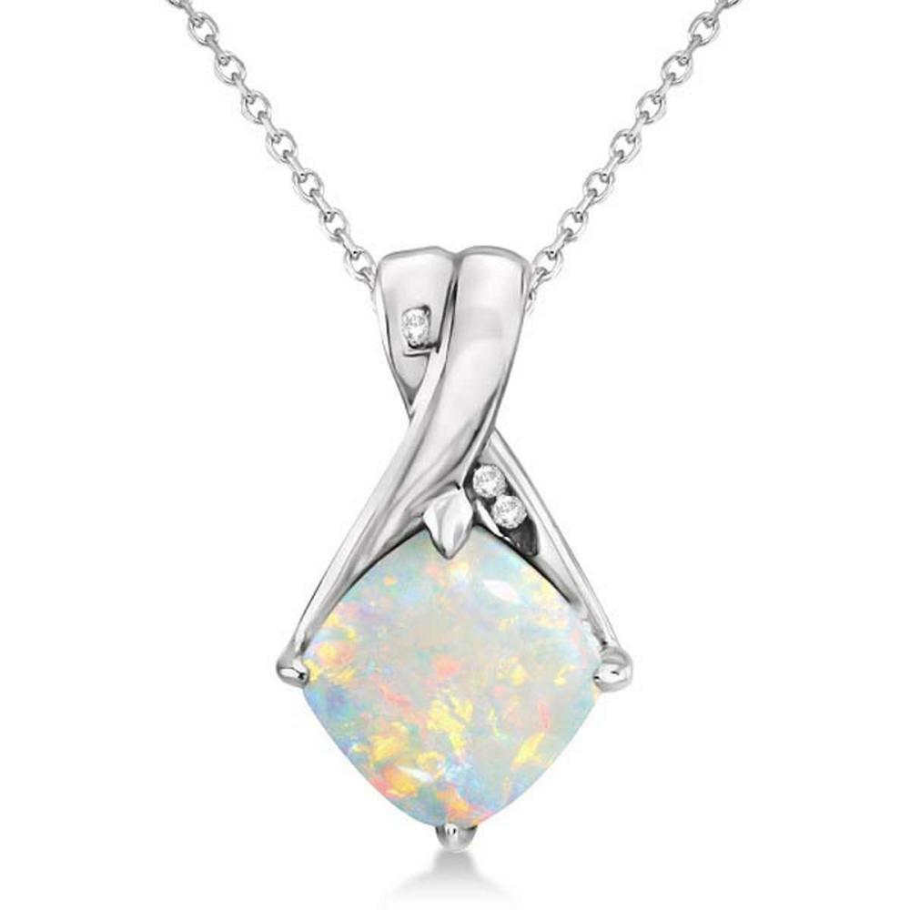 Diamond and Cushion Opal Pendant Necklace 14k White Gold (1.36ct) #PAPPS20506