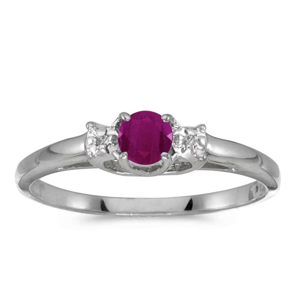 Certified 14k White Gold Round Ruby And Diamond Ring 0.25 CTW #PAPPS25616