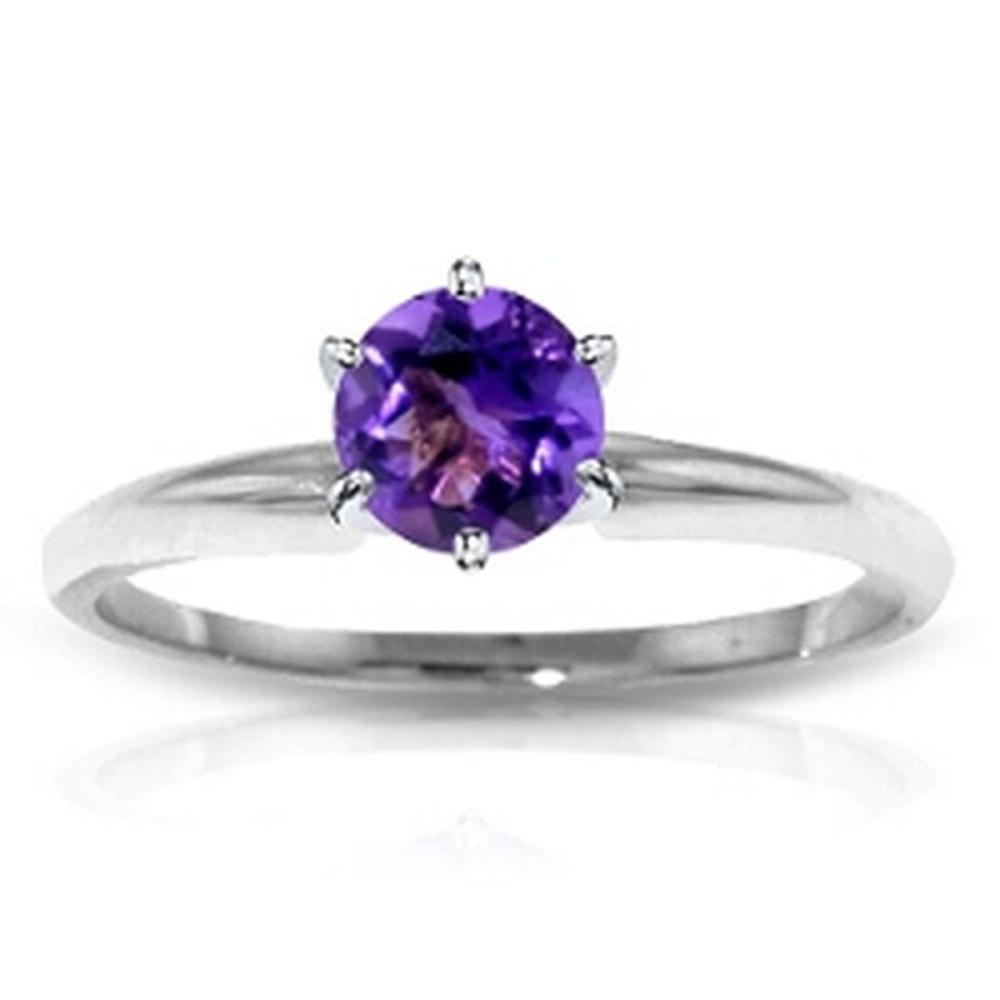 CERTIFIED 14K .75 CTW AMETHYST SOLITAIRE RING #PAPPS84601