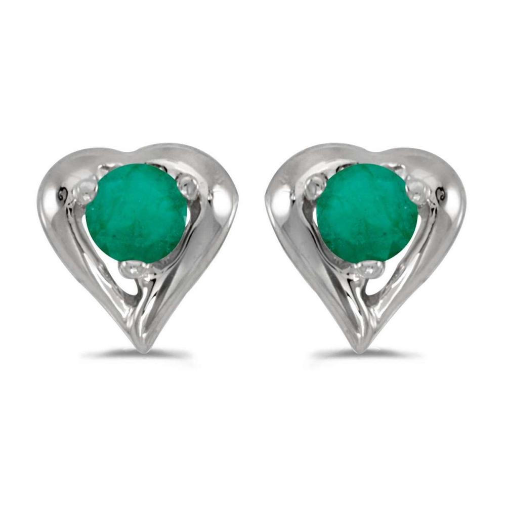 Certified 14k White Gold Round Emerald Heart Earrings 0.18 CTW #PAPPS26960
