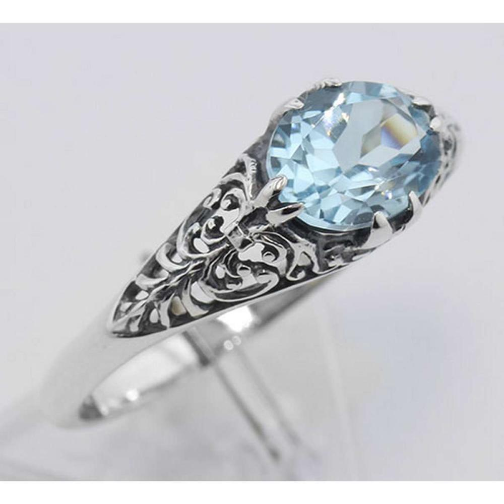 Blue Topaz Filigree Ring - Sterling Silver #PAPPS98118