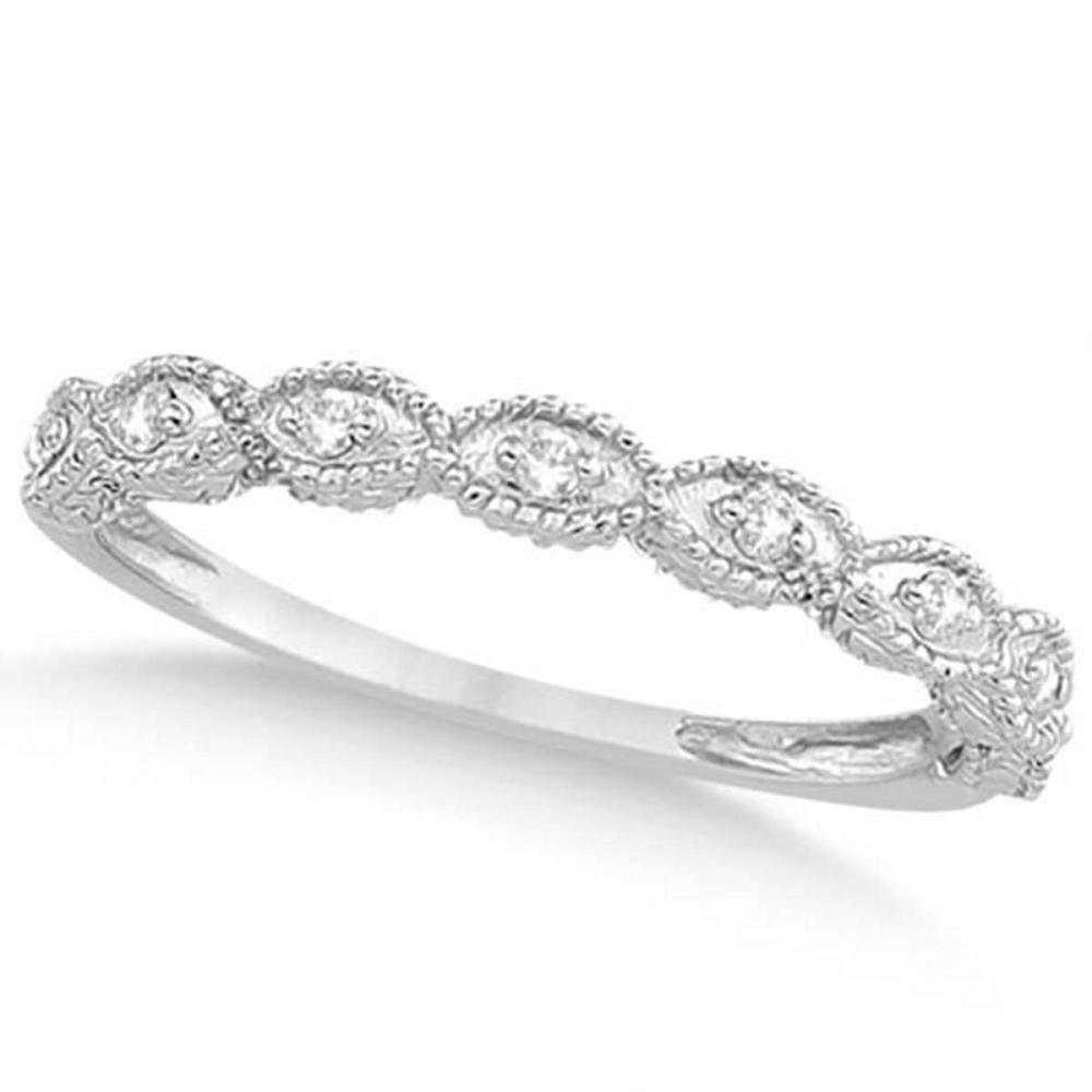 Antique Marquise Shape Diamond Wedding Ring 14k White Gold (0.10ct) #PAPPS20557