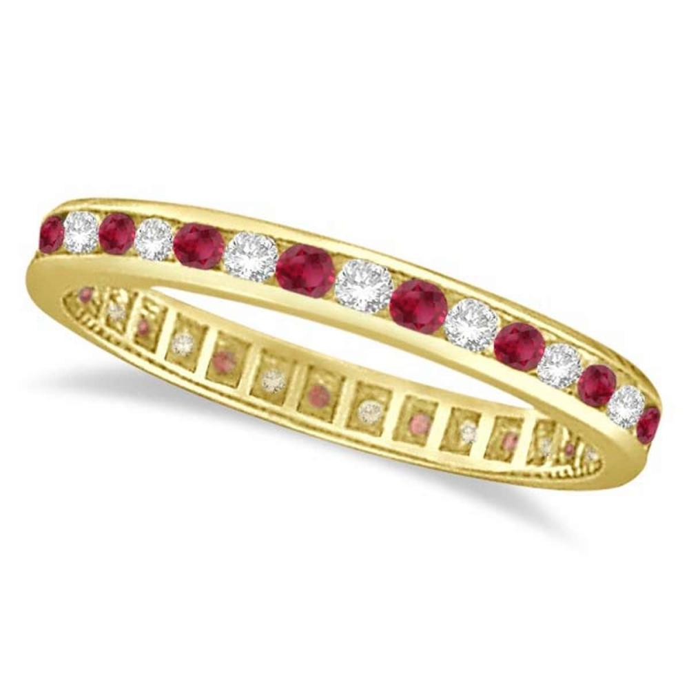 1.04ct Ruby and Diamond Channel Set Ring Eternity Band 14k Yellow Gold #PAPPS20574