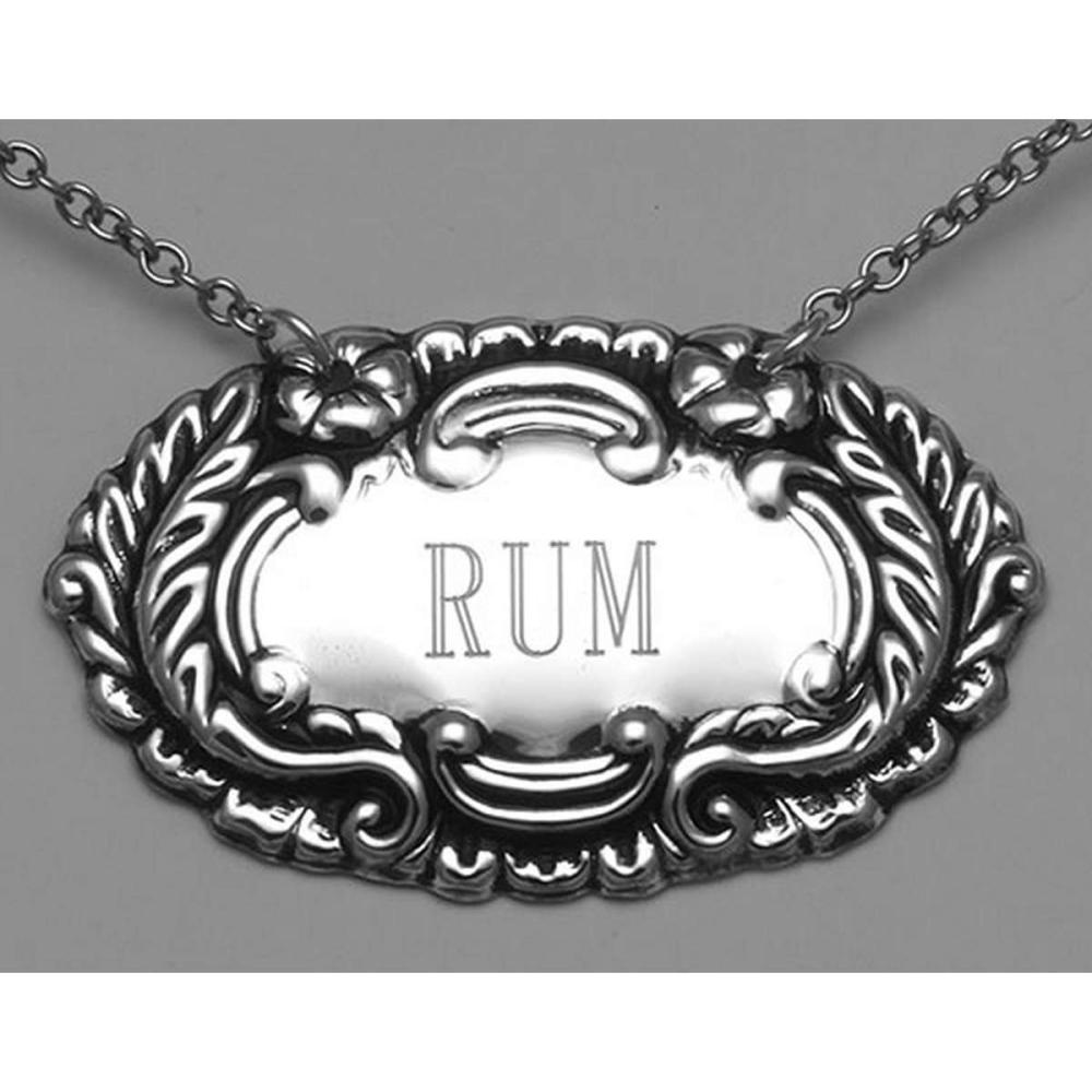 Rum Liquor Decanter Label / Tag - Sterling Silver #PAPPS98011