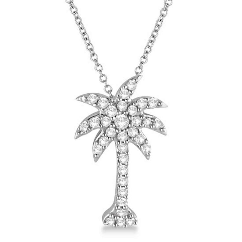 Palm Tree Shaped Diamond Pendant Necklace 14k White Gold (1/4ct) #PAPPS21279