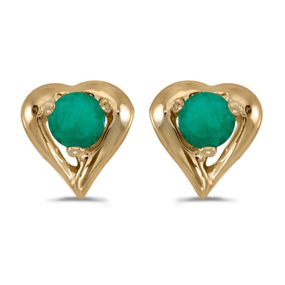 Certified 14k Yellow Gold Round Emerald Heart Earrings 0.18 CTW #PAPPS26949