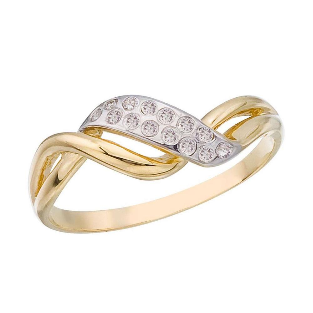 Certified 14K Yellow Gold and Diamond Promise Ring 0.07 CTW #PAPPS25617