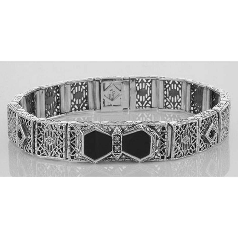 Art Deco Style Filigree Link Bracelet Black Onyx & Diamonds Sterling Silver #PAPPS98045