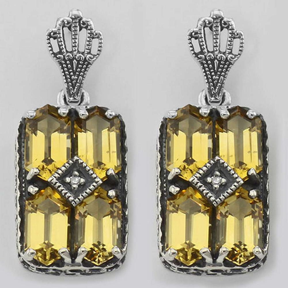 Art Deco Style Citrine w/ Diamond Art Deco Earrings - Sterling Silver #PAPPS98057