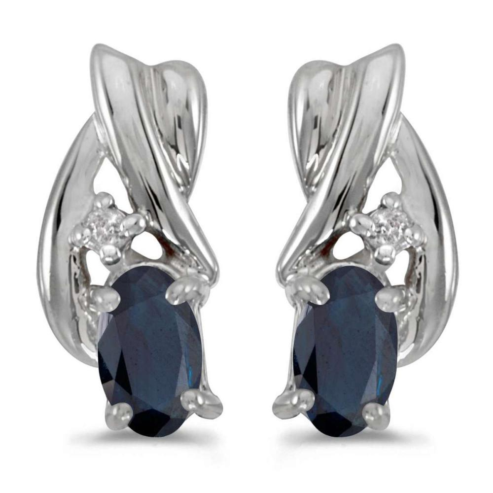 Certified 14k White Gold Oval Sapphire And Diamond Earrings 0.52 CTW #PAPPS27008
