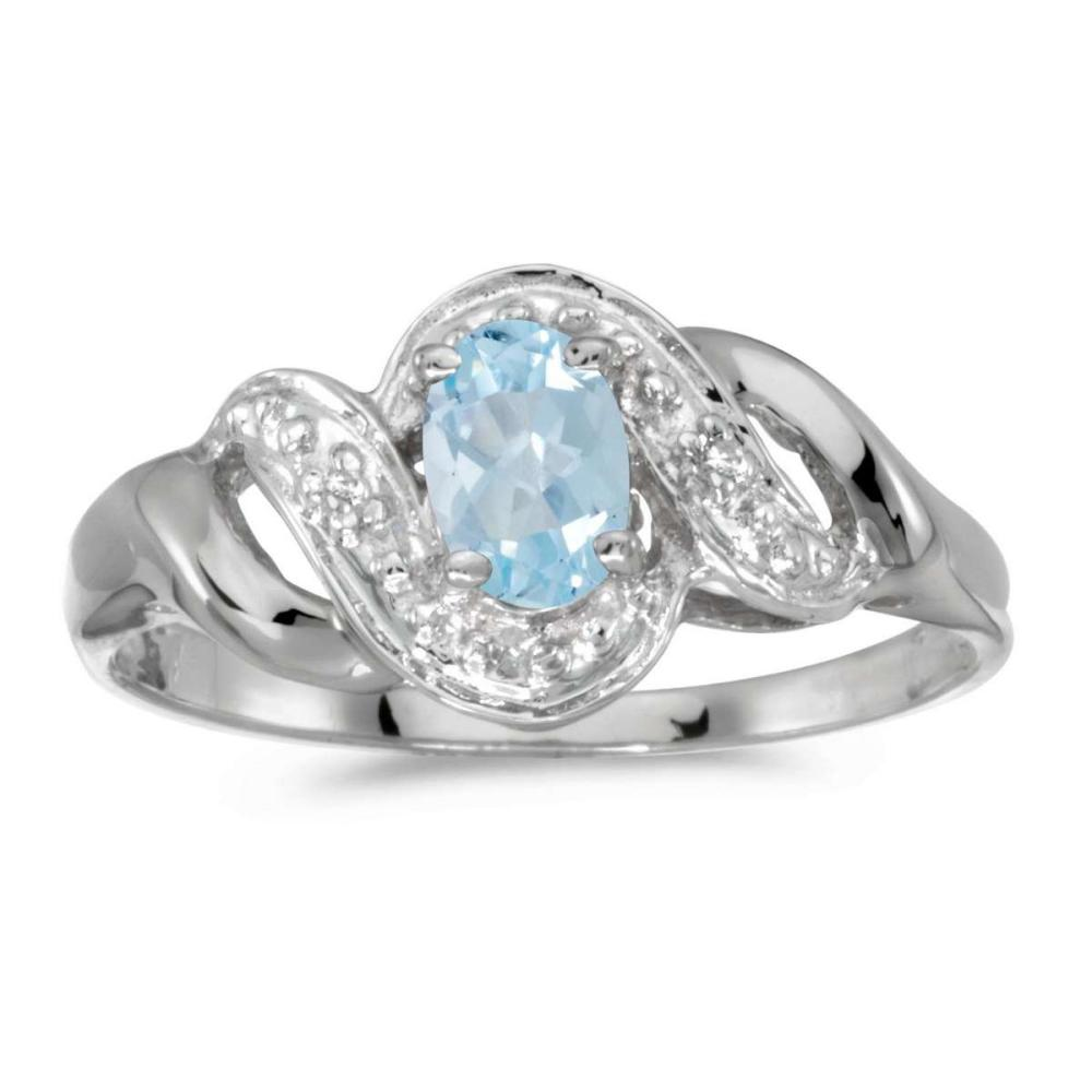 Certified 14k White Gold Oval Aquamarine And Diamond Swirl Ring 0.3 CTW #PAPPS25598