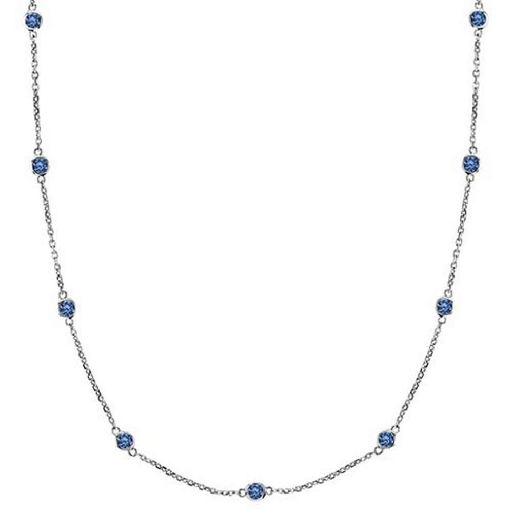 Fancy Blue Diamonds by The Yard Necklace 14k White Gold (0.75ct) #PAPPS52947