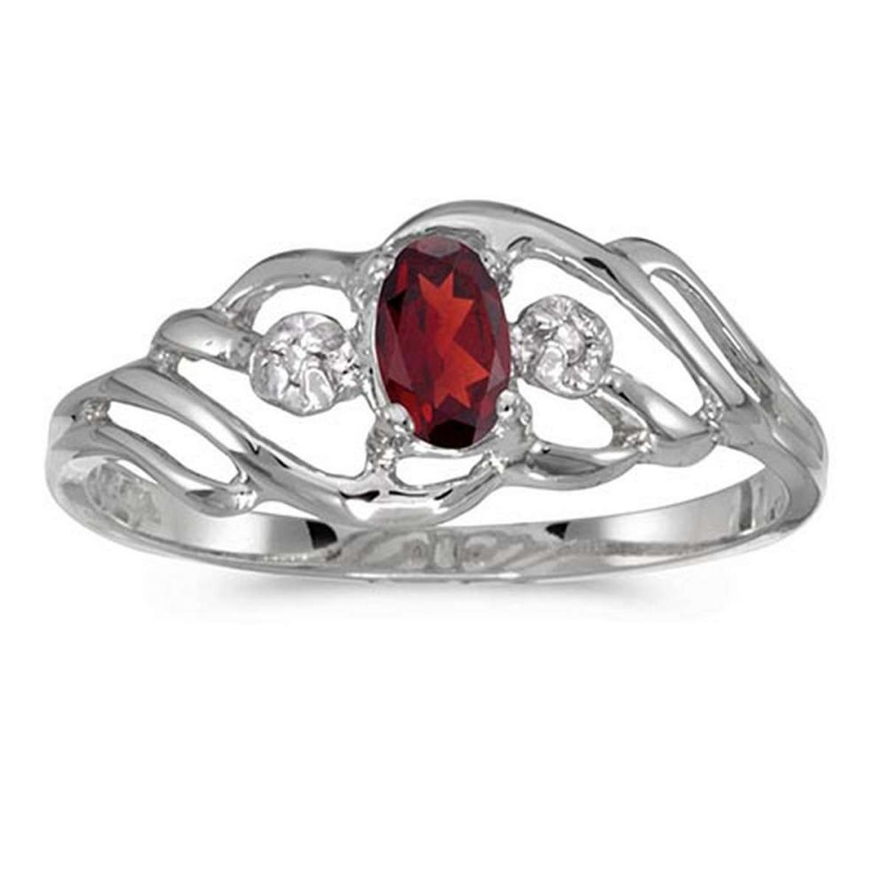 Certified 14k White Gold Oval Garnet And Diamond Ring 0.24 CTW #PAPPS51070