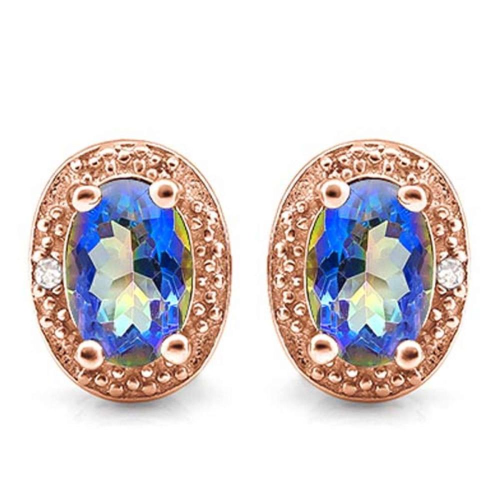 0.85 CTW BLUE MYSTICS QUARTZ 10K SOLID RED GOLD EARRING WITH 0.01 CTW DIAMOND ACCENTS #PAPPS56885