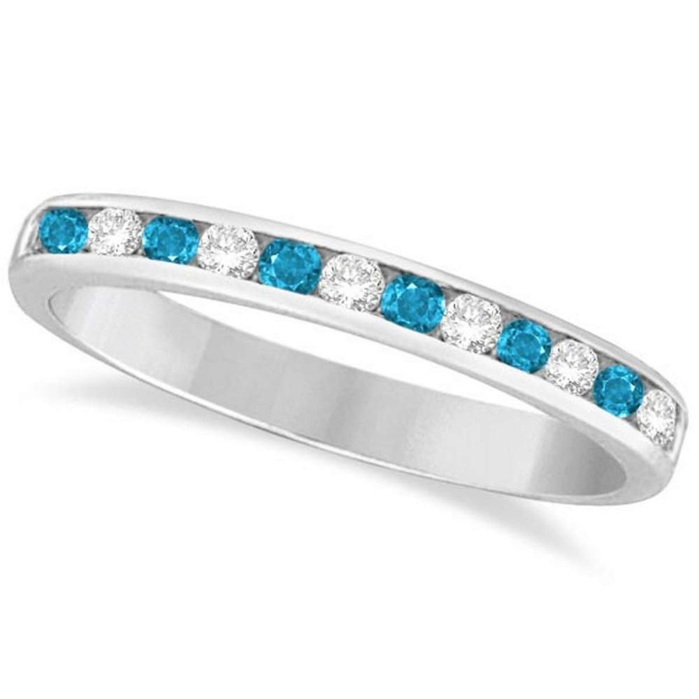 Blue Topaz and Diamond Semi-Eternity Channel Ring 14k White Gold (0.40ct) #PAPPS21230