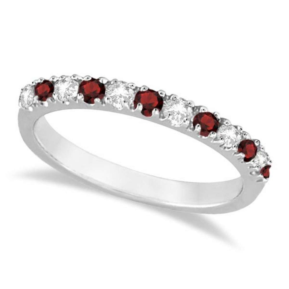 Diamond and Garnet Ring Guard Stackable Band 14K White Gold (0.37ct) #PAPPS20519