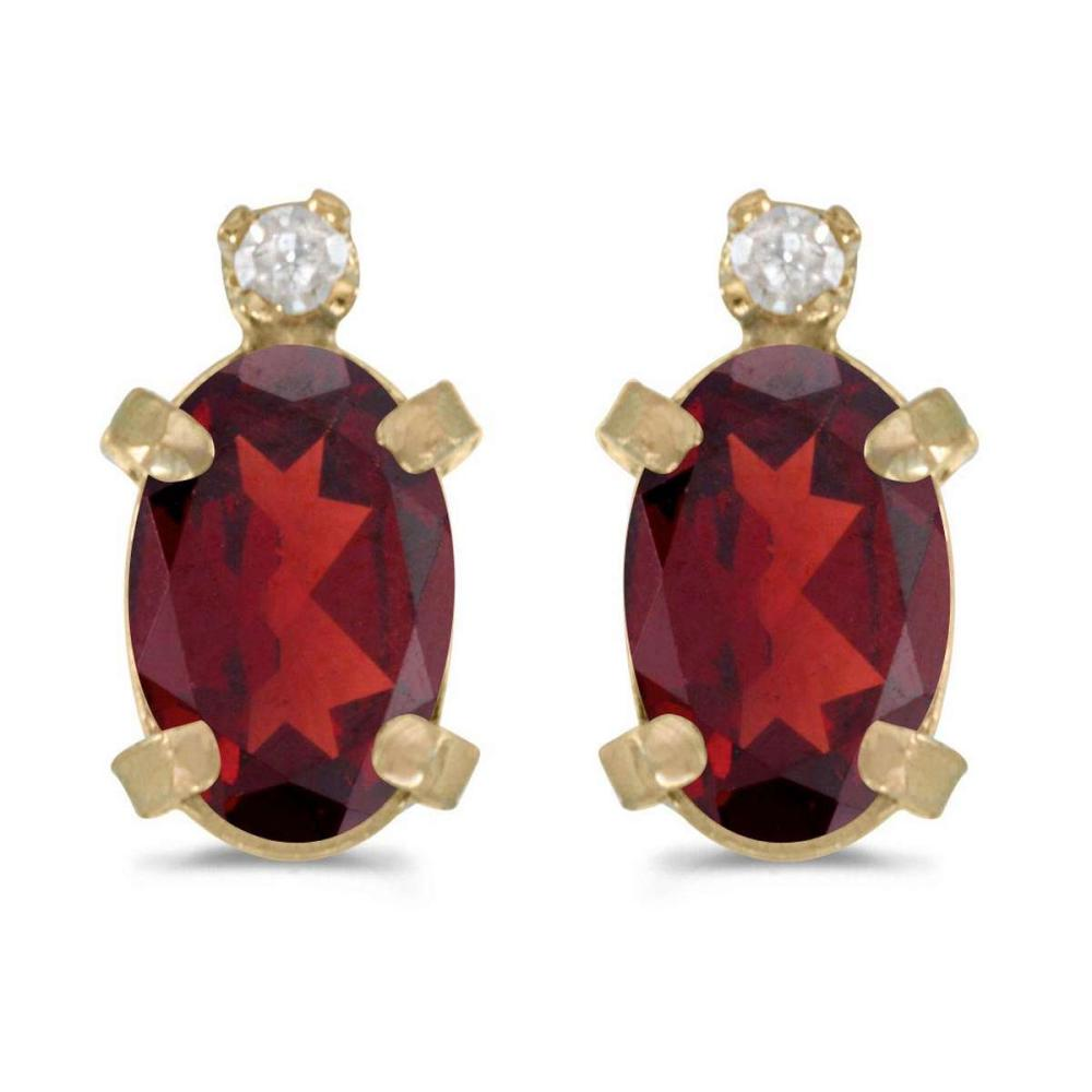 Certified 14k Yellow Gold Oval Garnet And Diamond Earrings 0.96 CTW #PAPPS27014