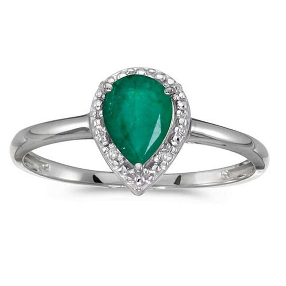 Certified 10k White Gold Pear Emerald And Diamond Ring 0.64 CTW #PAPPS51473