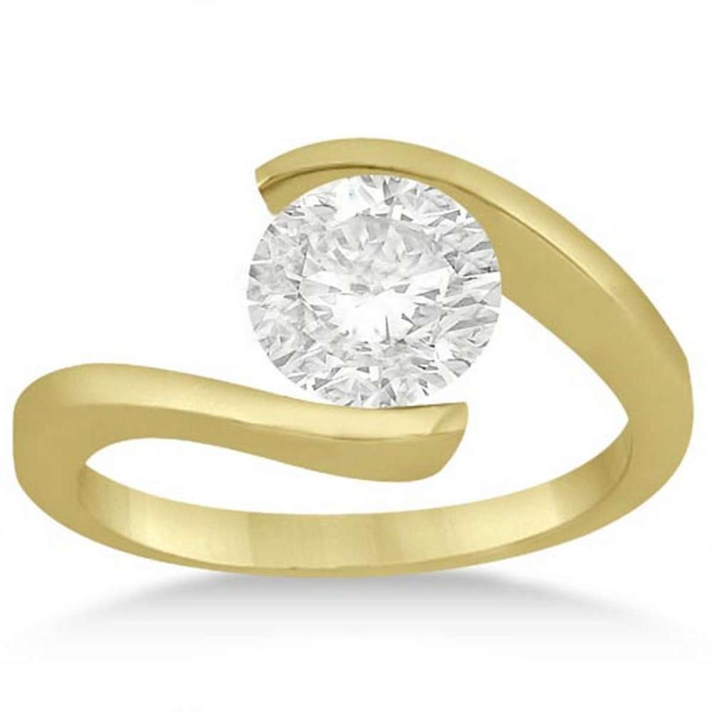 Tension Set Swirl Solitaire Diamond Engagement Ring 18k Yellow Gold (1.25ct) #PAPPS21288