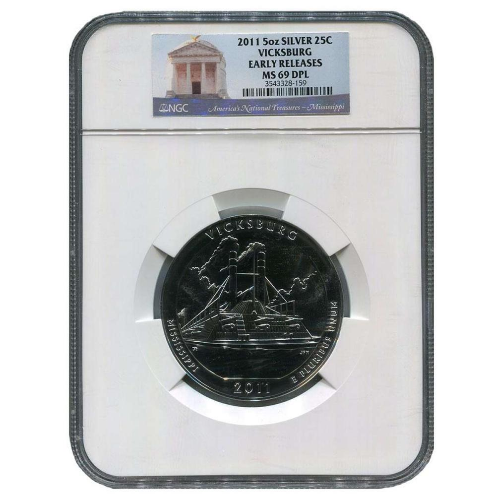Certified ATB 5 Ounce Bullion NGC Vicksburg MS69 DPL Early Release #PAPPS57987