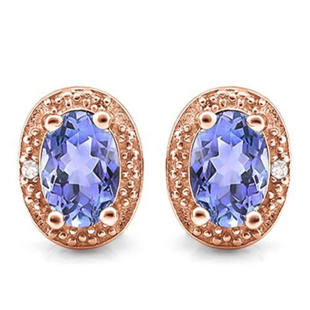 0.79 CTW TANZANITE 10K SOLID RED GOLD EARRING WITH 0.01 CTW DIAMOND ACCENTS #PAPPS56881