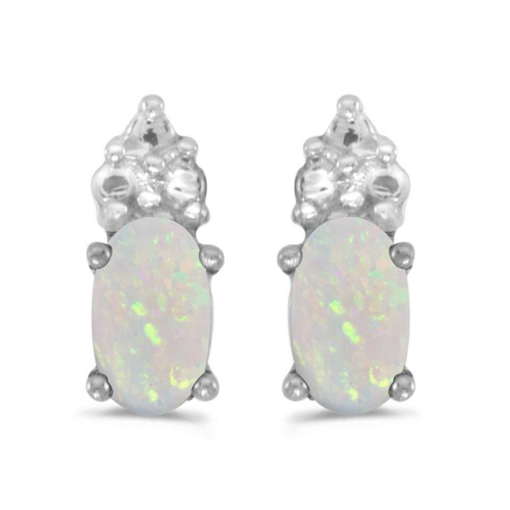 Certified 14k White Gold Oval Opal Earrings 0.16 CTW #PAPPS26986