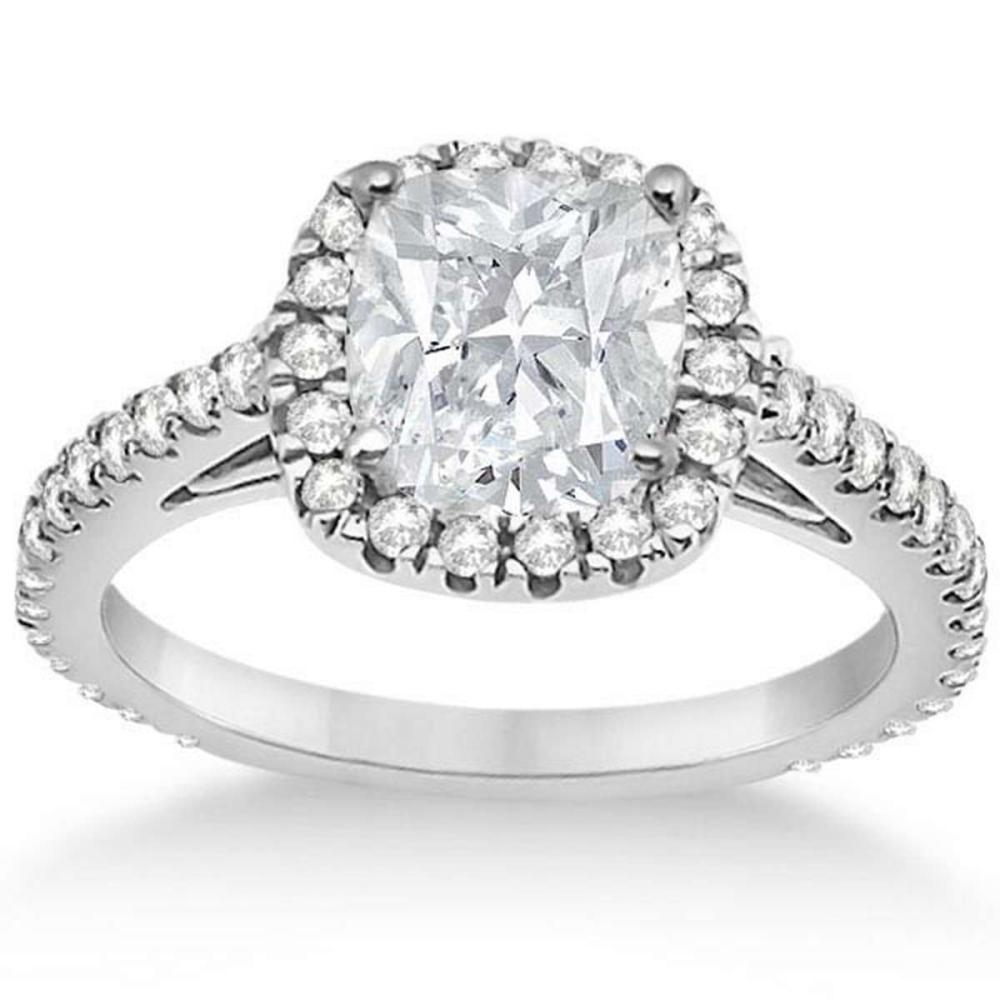 Cathedral Halo Cushion Diamond Engagement Ring 14K White Gold (1.20ct) #PAPPS20538