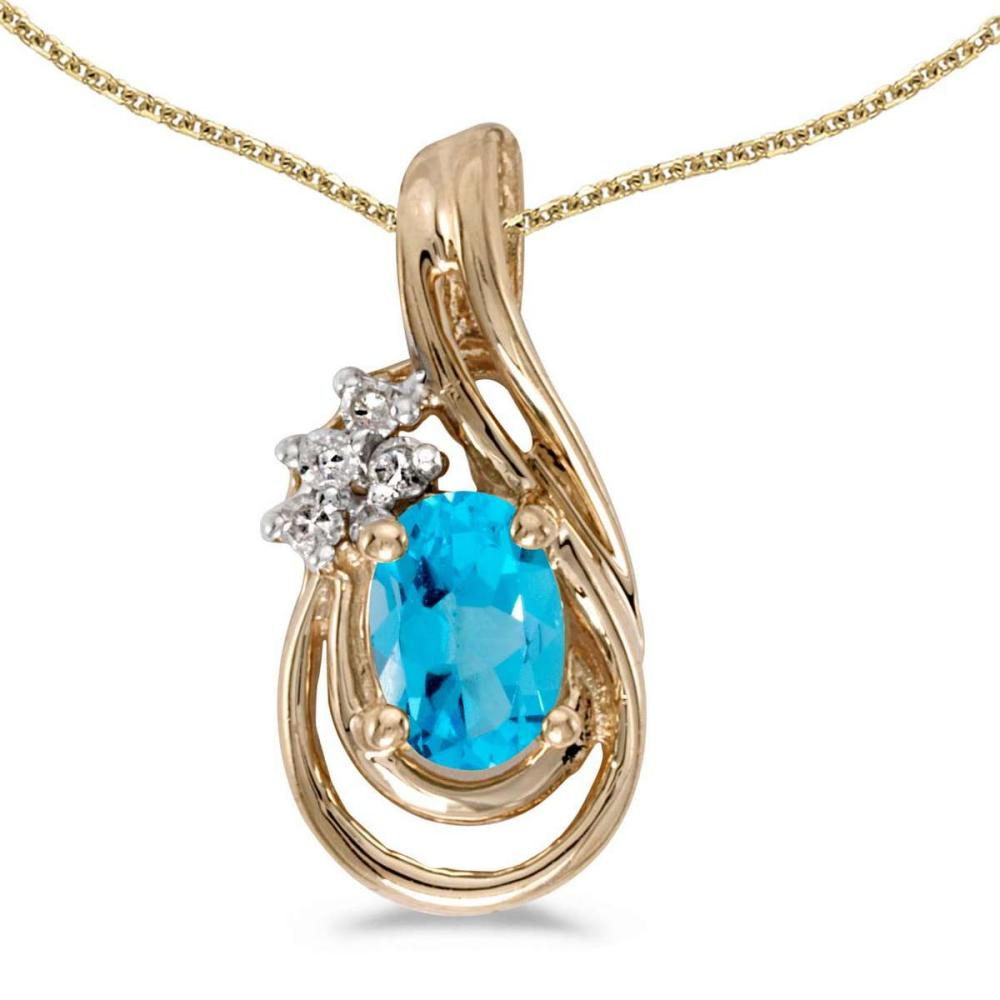 Certified 14k Yellow Gold Oval Blue Topaz And Diamond Teardrop Pendant 0.44 CTW #PAPPS27443
