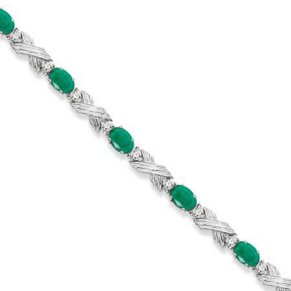 Emerald and Diamond XOXO Link Bracelet in 14k White Gold (6.65ct) #PAPPS21267