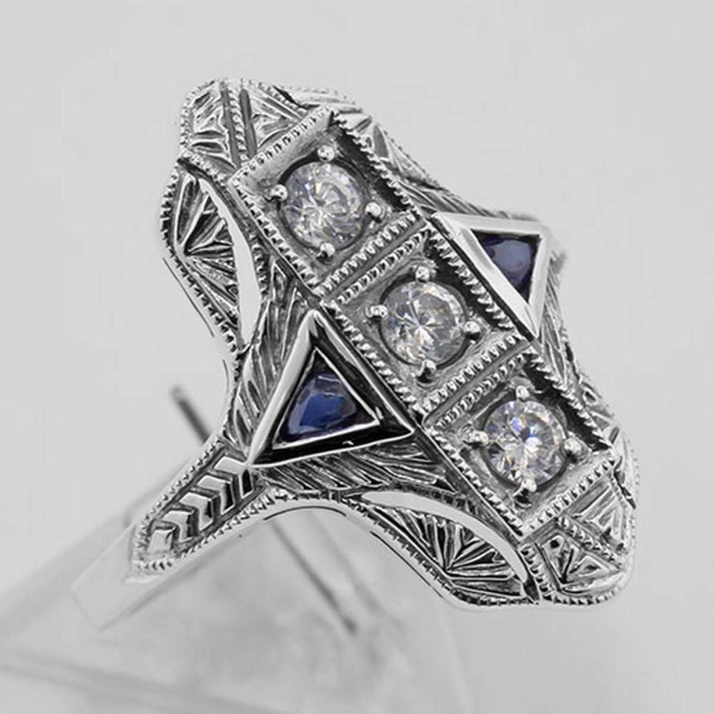 Filigree Ring w/ Sapphire / Crystals - Sterling Silver #PAPPS98105