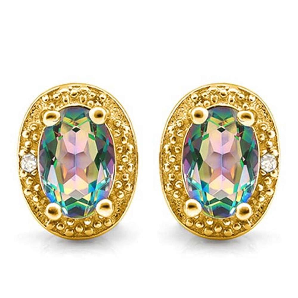 1.04 CTW GREEN MYSTIC QUARTZ 10K SOLID YELLOW GOLD EARRING WITH 0.01 CTW DIAMOND ACCENTS #PAPPS56878