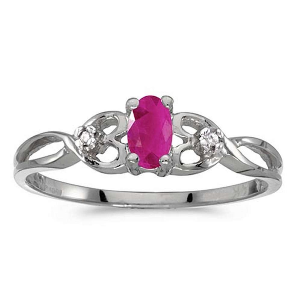 Certified 10k White Gold Oval Ruby And Diamond Ring 0.2 CTW #PAPPS51485