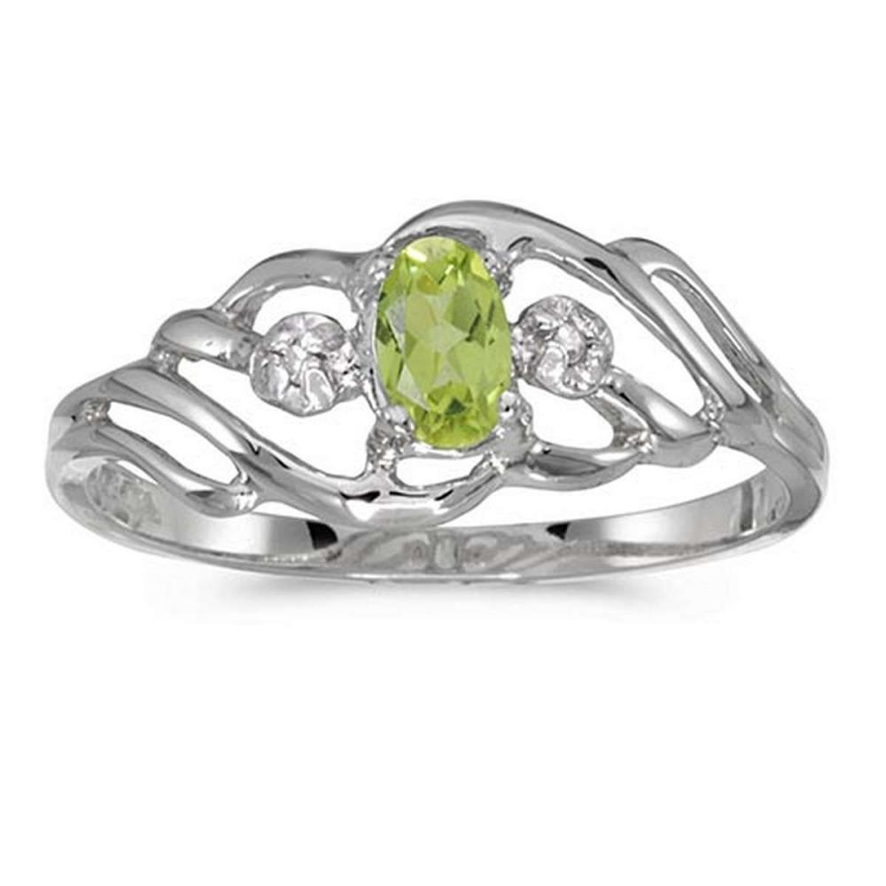 Certified 14k White Gold Oval Peridot And Diamond Ring 0.2 CTW #PAPPS51082