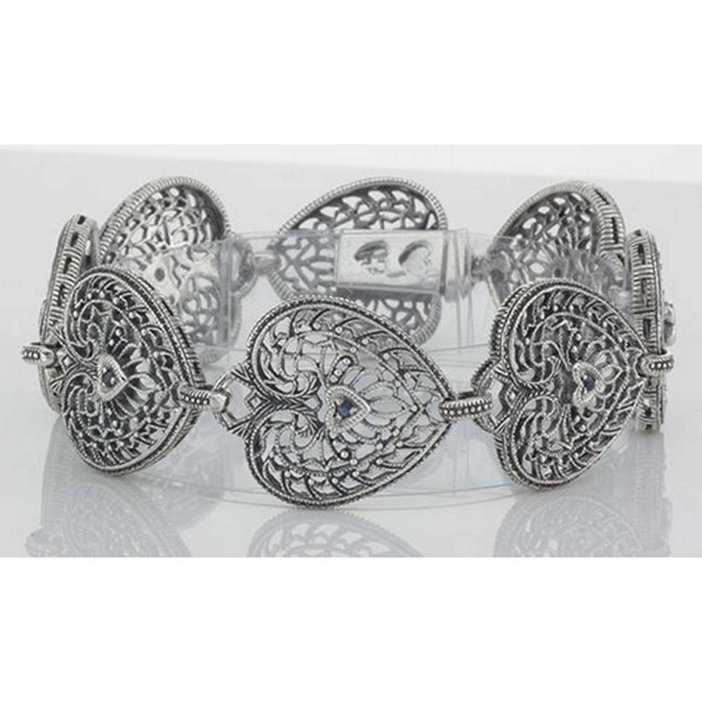 Victorian Style Filigree Heart Bracelet w/ Blue Sapphire in fine Sterling Silver #PAPPS98042