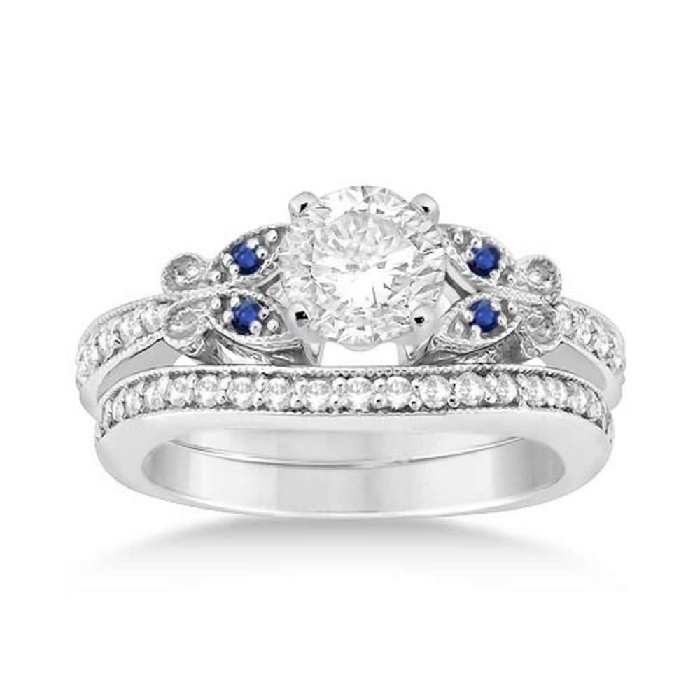 Butterfly Diamond and Blue Sapphire Bridal Set 14k White Gold (1.12ct) #PAPPS20513